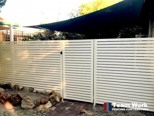 White EZI slat fence and gate Perth